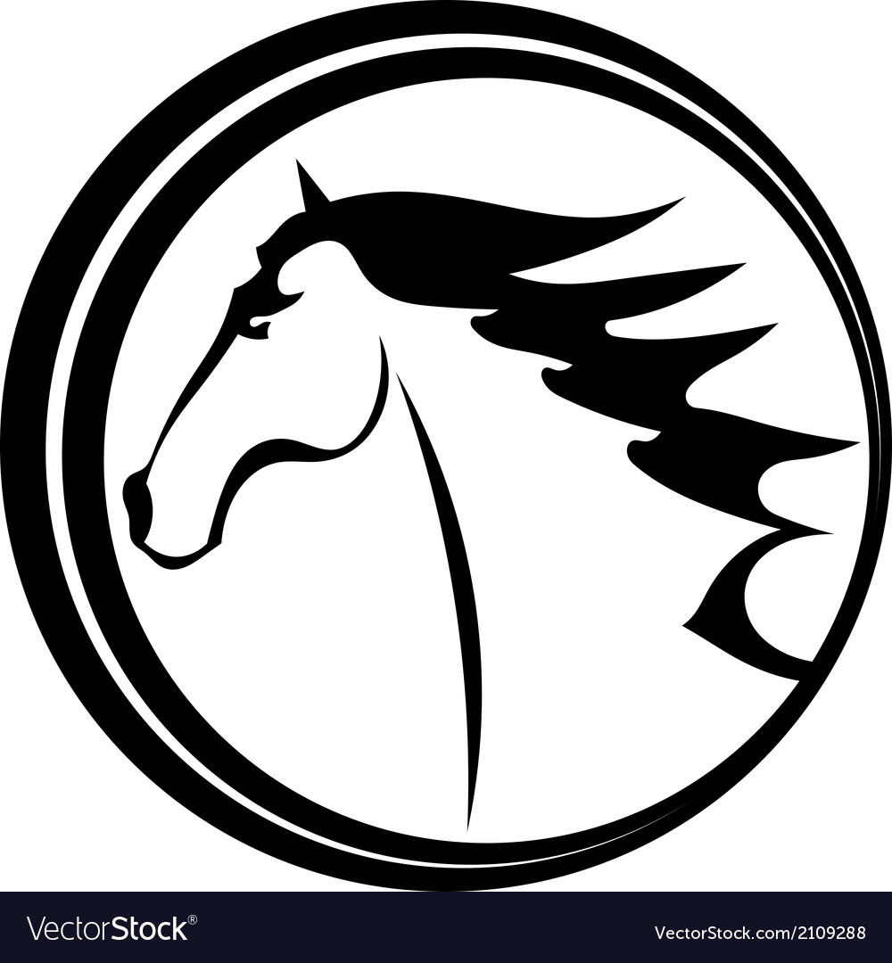 Horse tattoo character in a circle vector | Price: 1 Credit (USD $1)