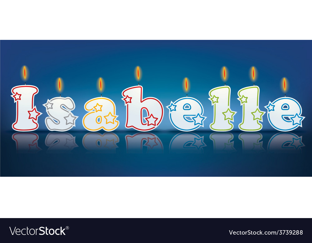 Isabelle written with burning candles vector | Price: 1 Credit (USD $1)