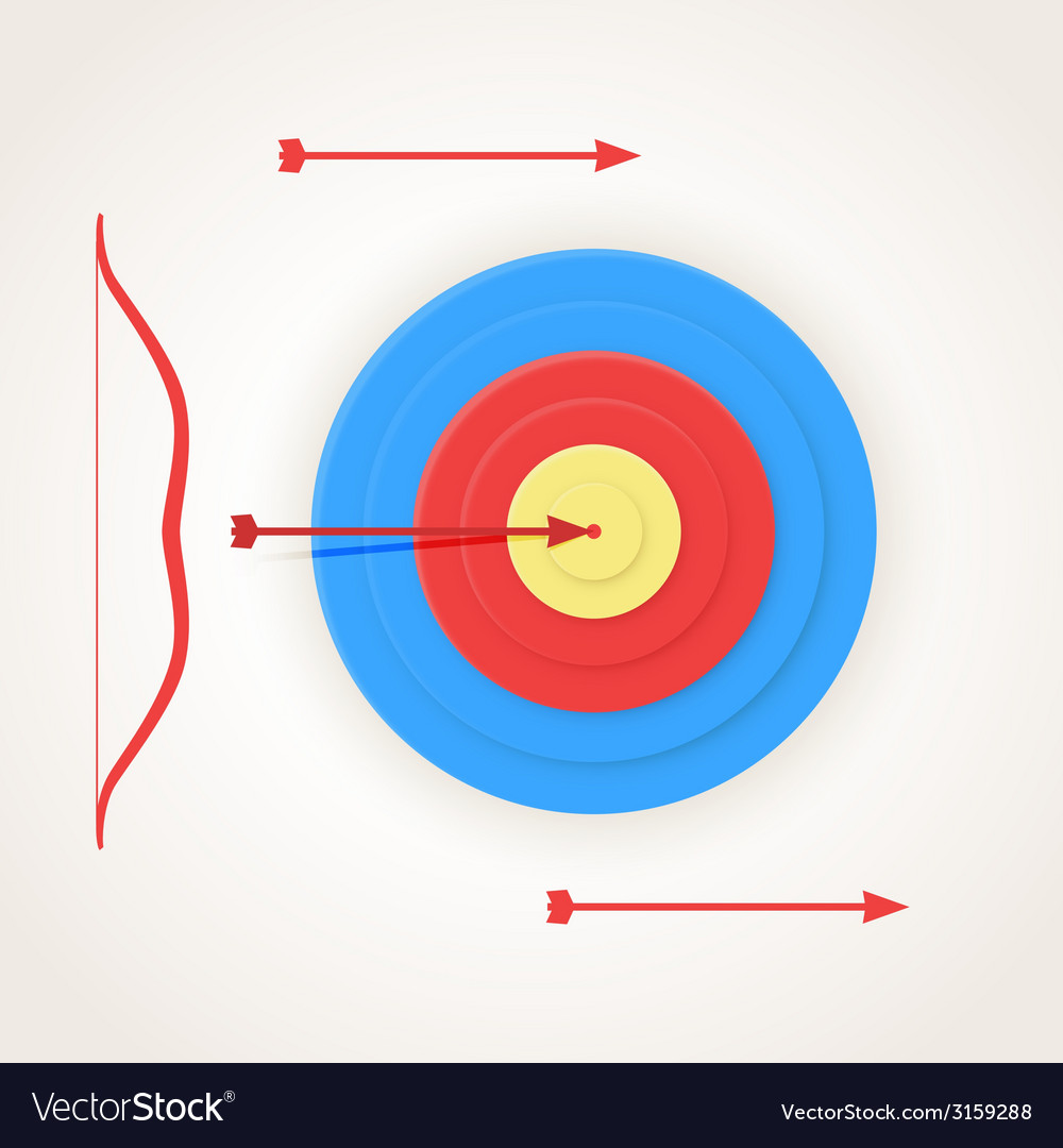 One arrow hits the center of a target vector | Price: 1 Credit (USD $1)