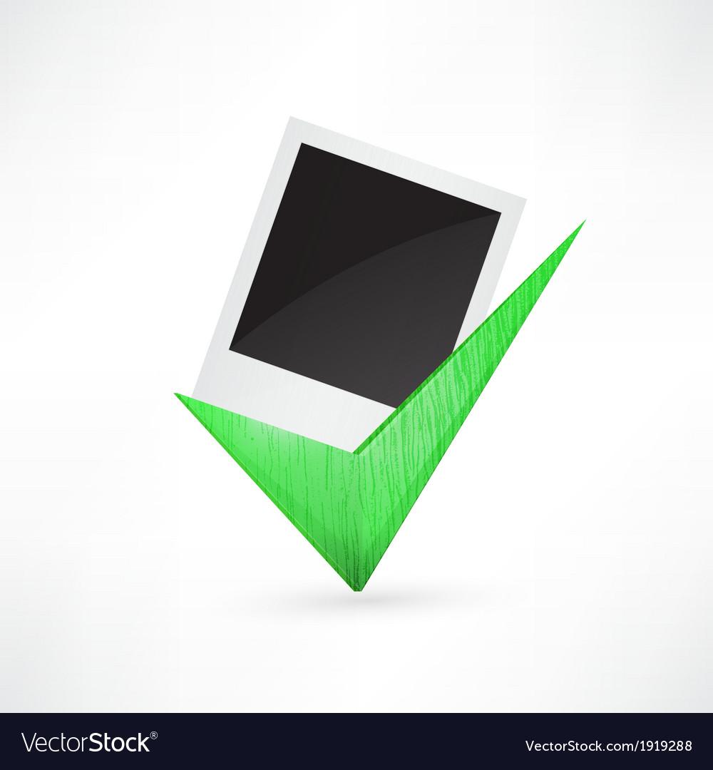 Polaroid photo frame green check mark vector | Price: 1 Credit (USD $1)