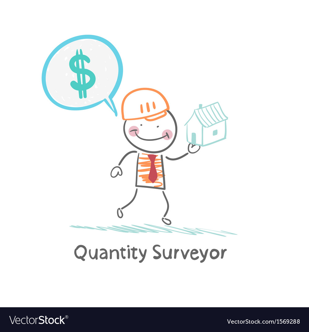 Quantity surveyor holds a house and thinking about vector | Price: 1 Credit (USD $1)