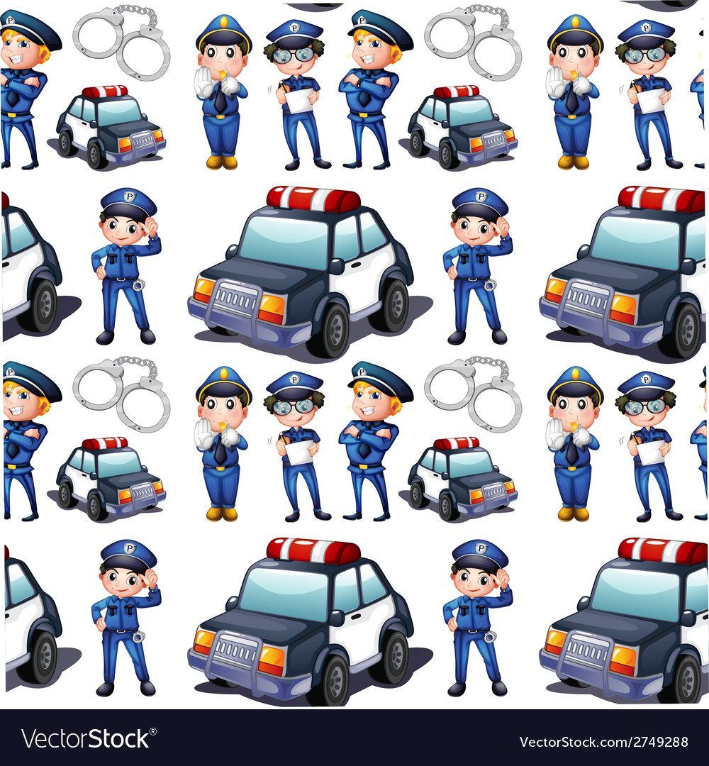 Seamless design with policemen and patrol cars vector | Price: 1 Credit (USD $1)