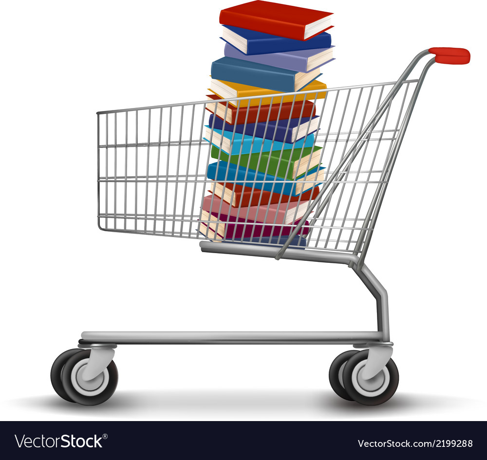 Shopping cart with a stack of books vector | Price: 1 Credit (USD $1)