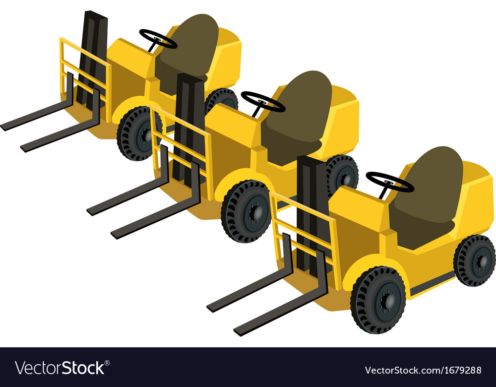 Three powered industrial forklift truck vector | Price: 1 Credit (USD $1)