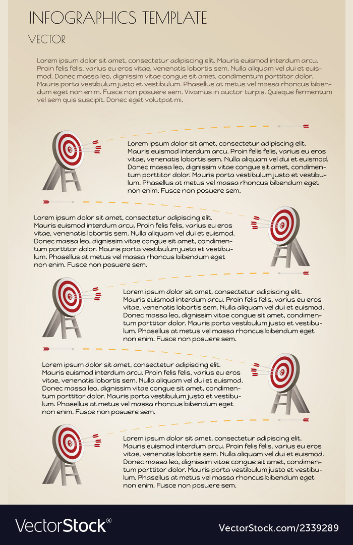 Brown infographcs with targets vector | Price: 1 Credit (USD $1)