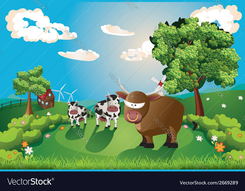 Cows and bull on lawn vector | Price: 3 Credit (USD $3)