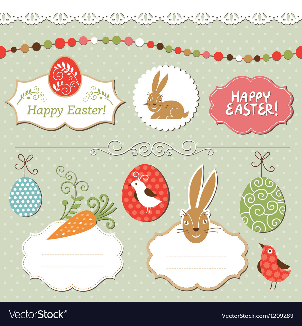 Easter set easter elements vector | Price: 1 Credit (USD $1)
