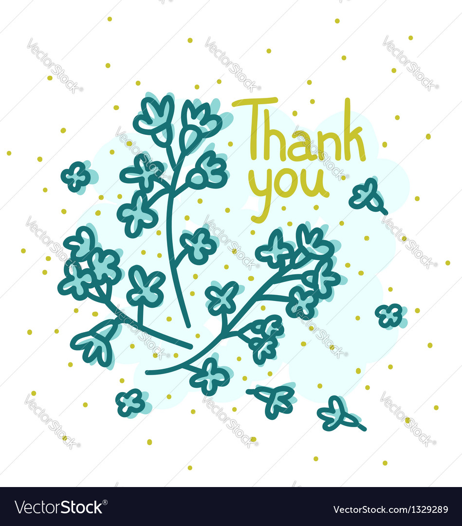 Floral thank you vector | Price: 1 Credit (USD $1)