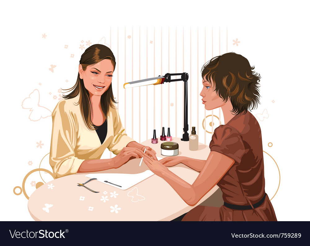 Girl doing a manicure at the beauty salon vector | Price: 5 Credit (USD $5)