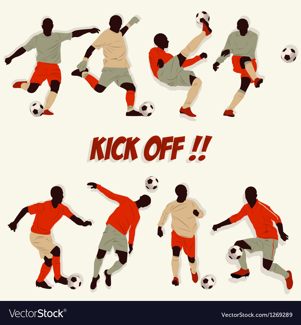 Lots of soccer player action football kick some ba vector | Price: 1 Credit (USD $1)