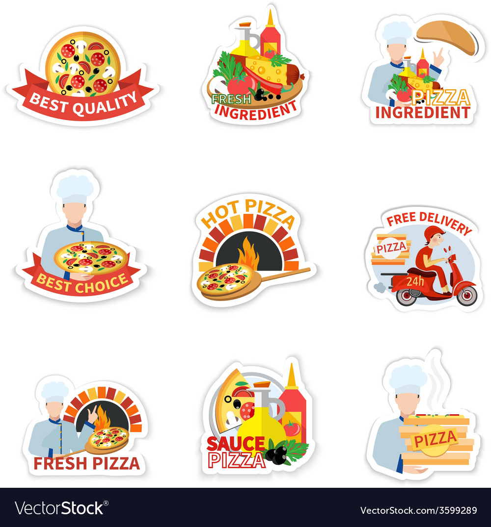 Pizza label set vector | Price: 1 Credit (USD $1)