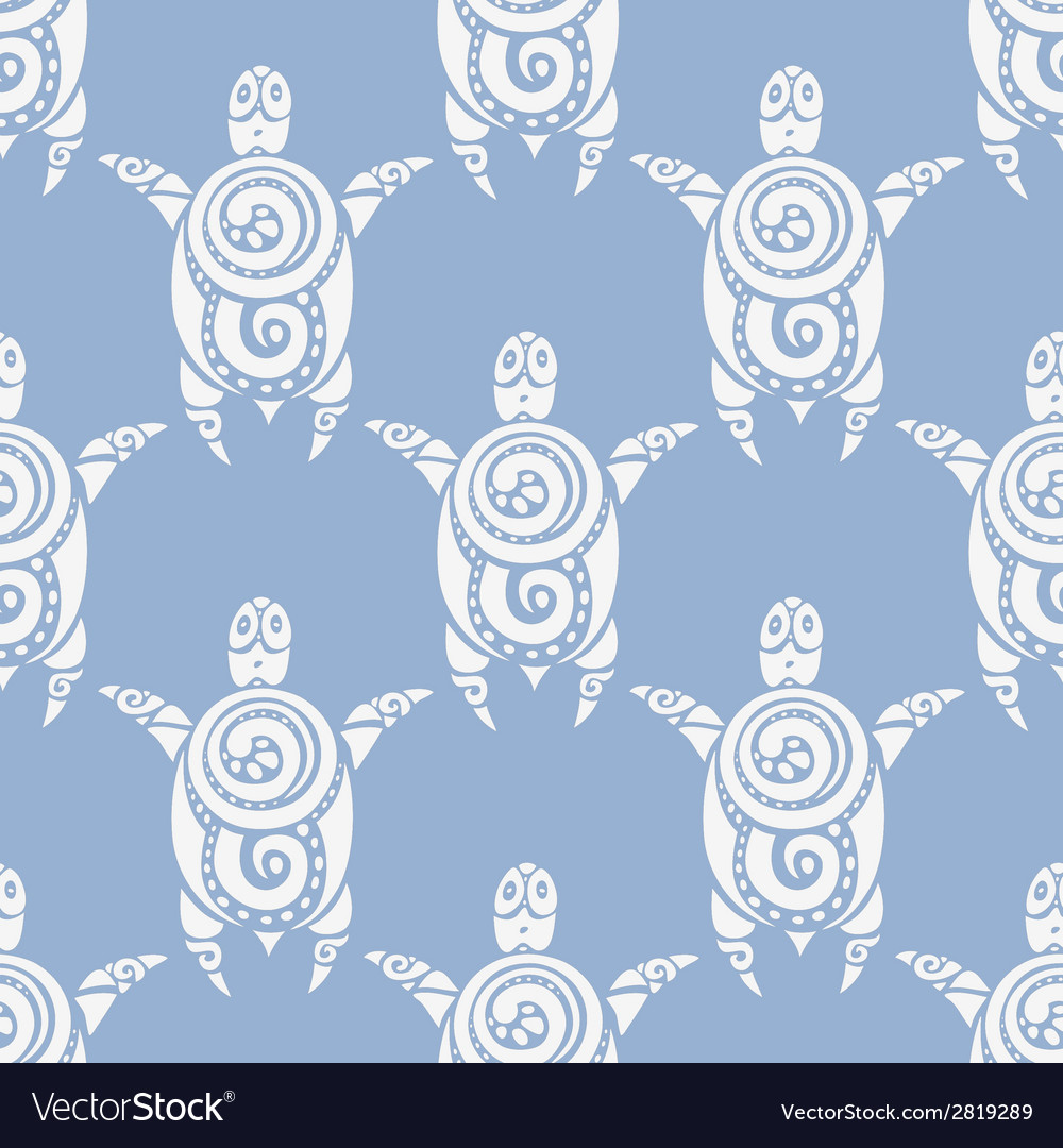 Sea turtles seamless pattern vector | Price: 1 Credit (USD $1)
