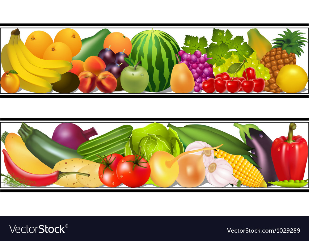 Set food vegetables and fruits painting damp vector | Price: 1 Credit (USD $1)