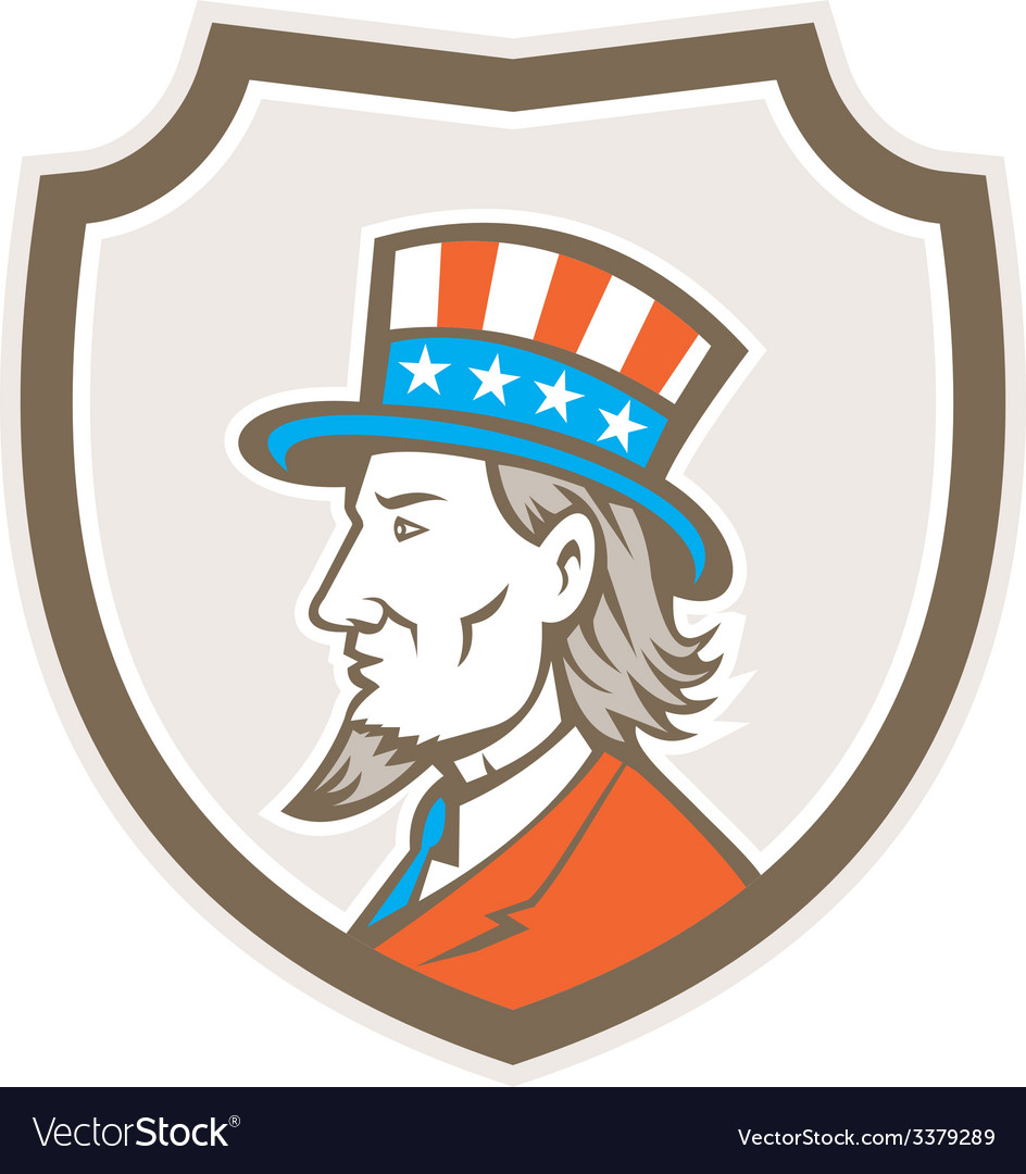 Uncle sam american side shield crest vector | Price: 1 Credit (USD $1)