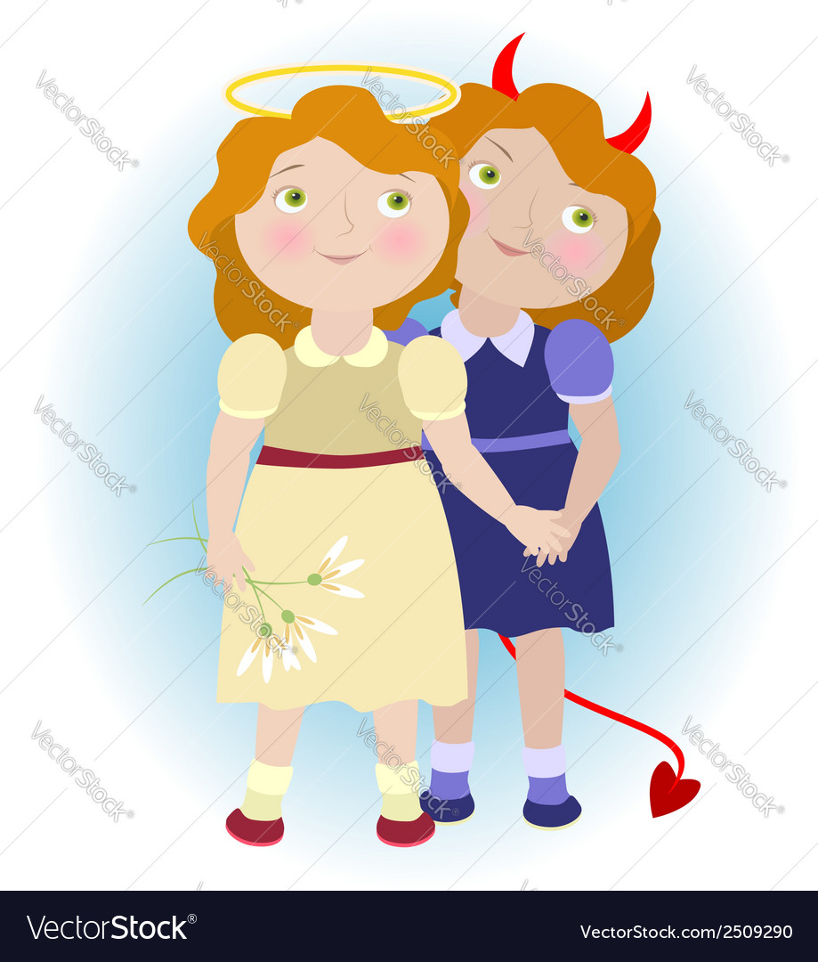 2 cartoon girls - devil and angel vector | Price: 1 Credit (USD $1)