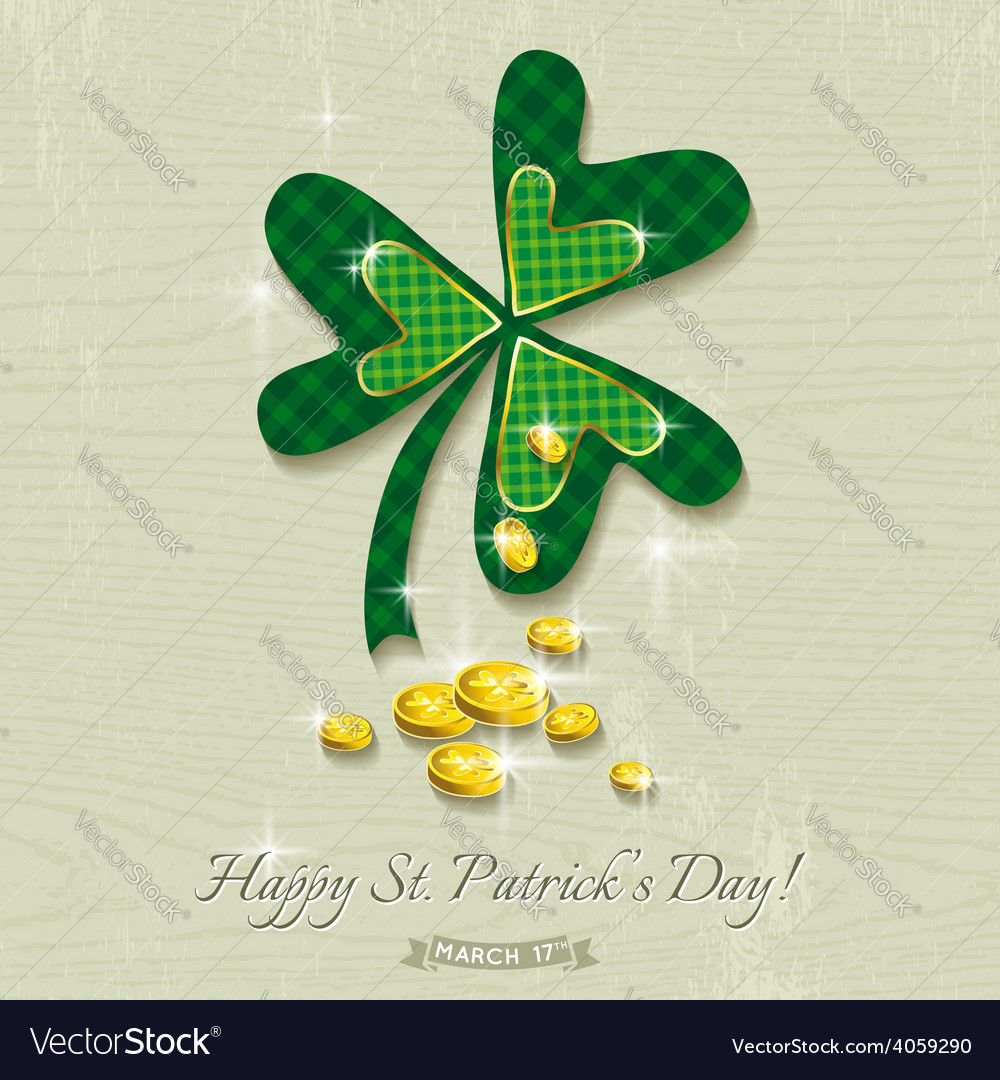 Card for st patricks day with clover and golden co vector | Price: 3 Credit (USD $3)