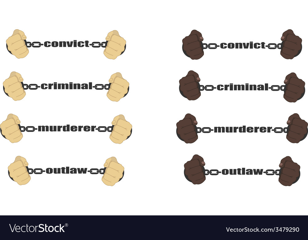 Convictcriminalmurderer outlaw signs vector | Price: 1 Credit (USD $1)