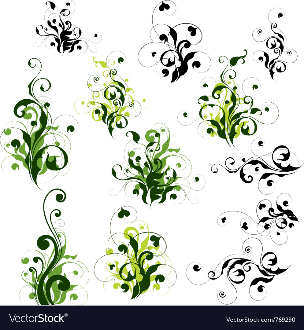 Floral decorations set vector | Price: 1 Credit (USD $1)