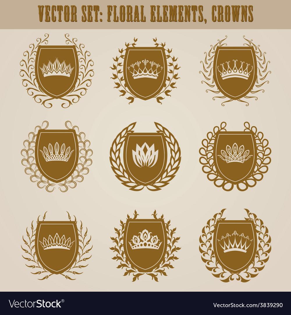 Golden shields with laurel wreath vector | Price: 3 Credit (USD $3)