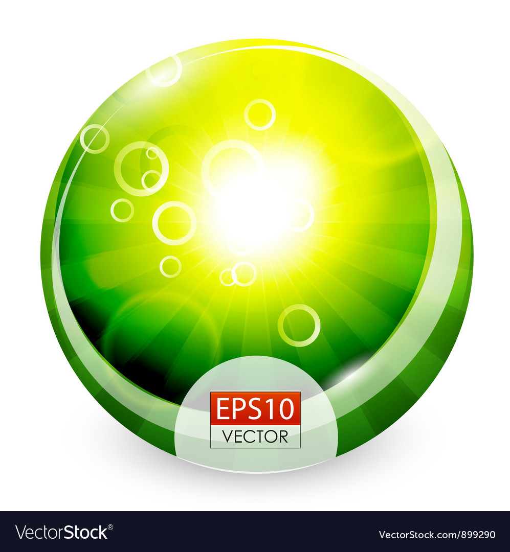 Green shiny sphere background vector | Price: 1 Credit (USD $1)