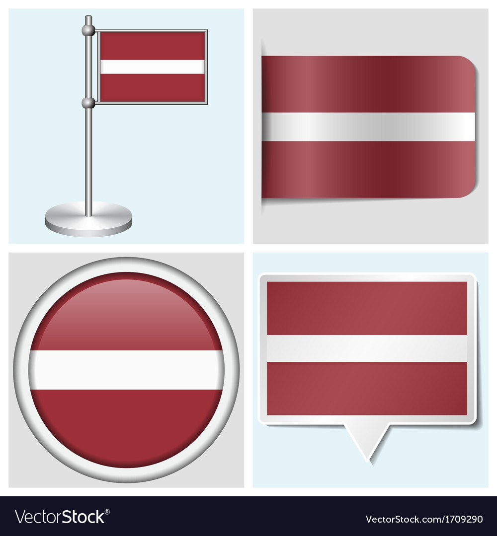 Latvia flag - sticker button label flagstaff vector | Price: 1 Credit (USD $1)