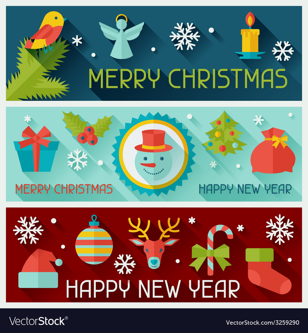 Merry christmas and happy new year horizontal vector | Price: 1 Credit (USD $1)