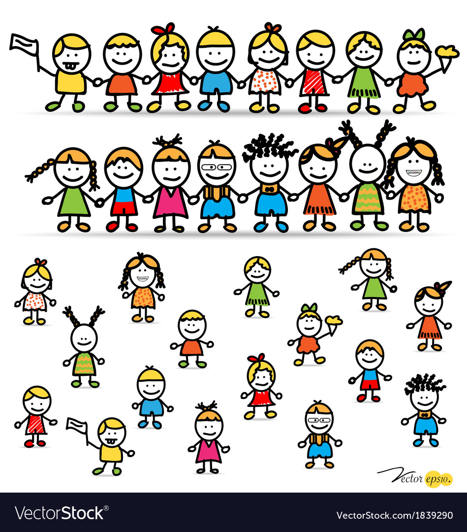 Set of cute happy cartoon kids vector | Price: 1 Credit (USD $1)
