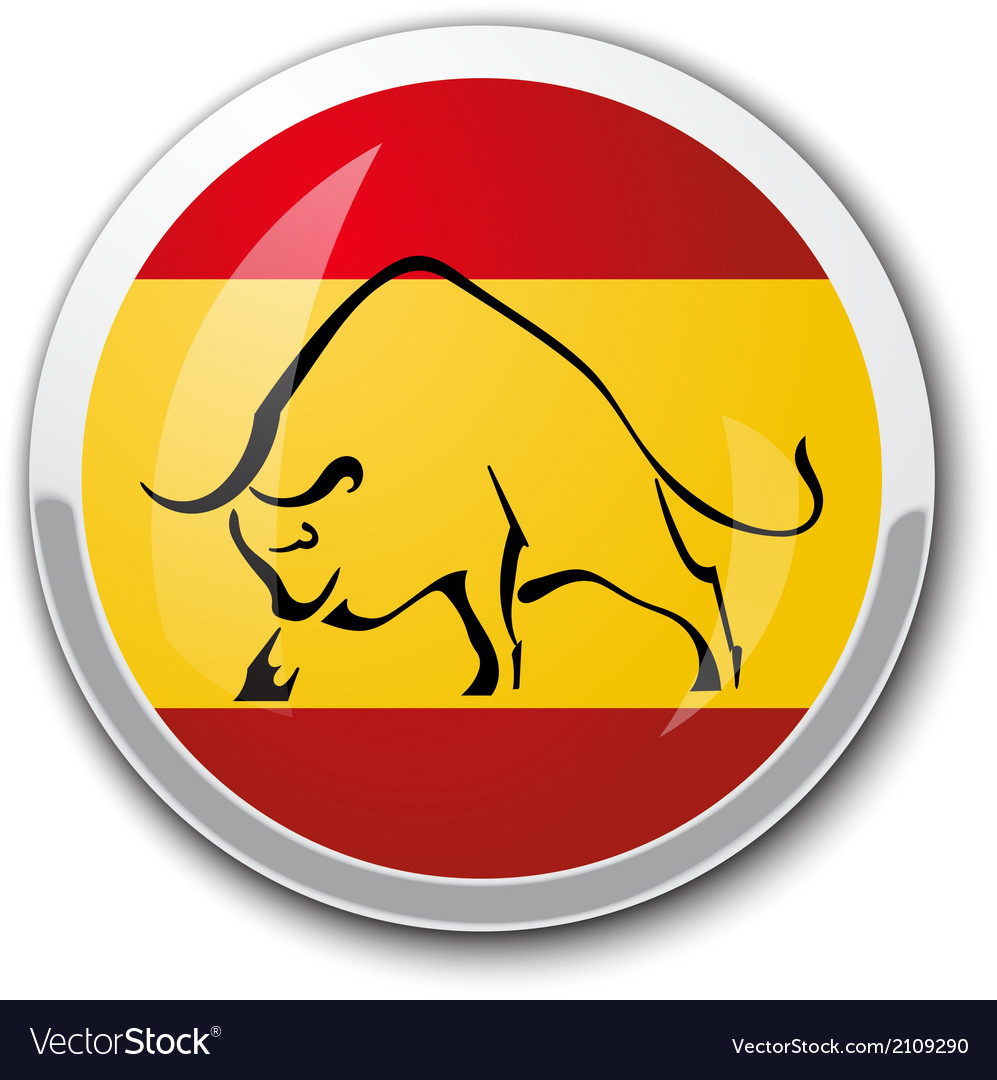 Silhouette of a bull in the national spanish flag vector | Price: 1 Credit (USD $1)