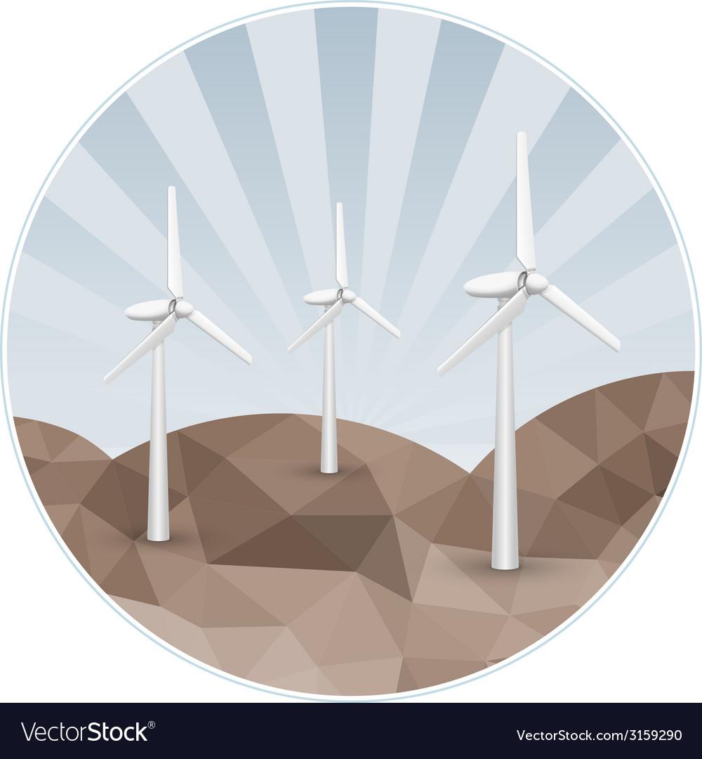 Three wind turbines on rocks vector | Price: 1 Credit (USD $1)