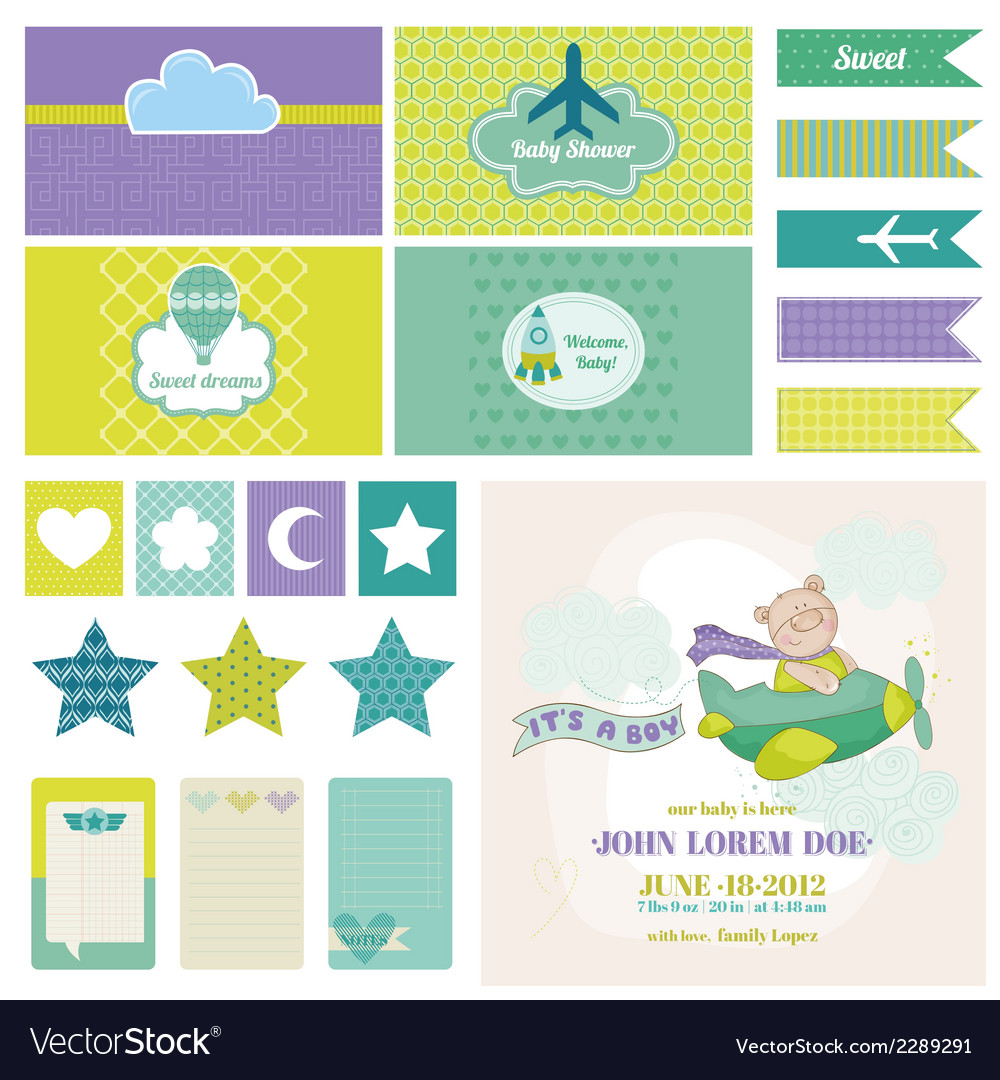 Baby bear on a plane - for birthday baby vector | Price: 3 Credit (USD $3)