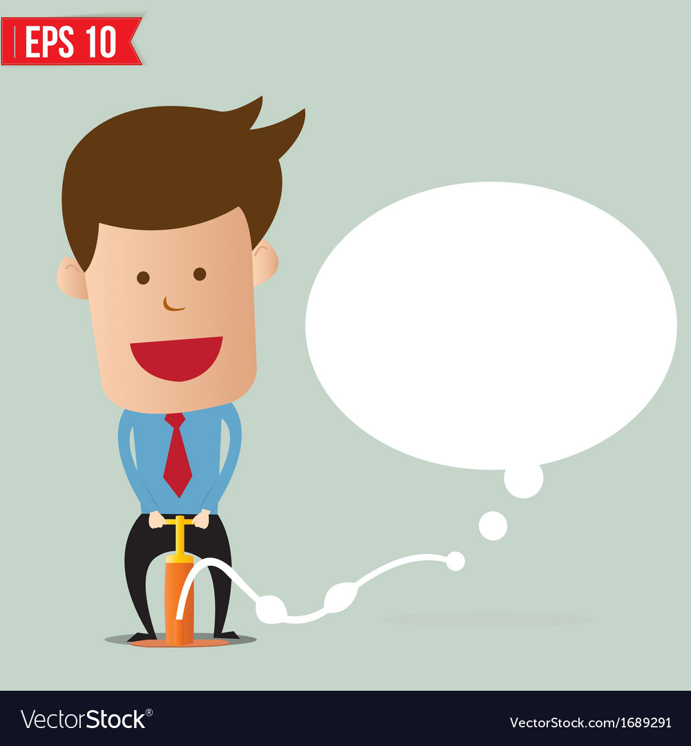 Cartoon business man pumping question bubble vector | Price: 1 Credit (USD $1)