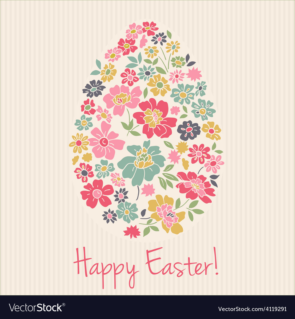 Floral card for easter day happy easter greeting vector | Price: 1 Credit (USD $1)