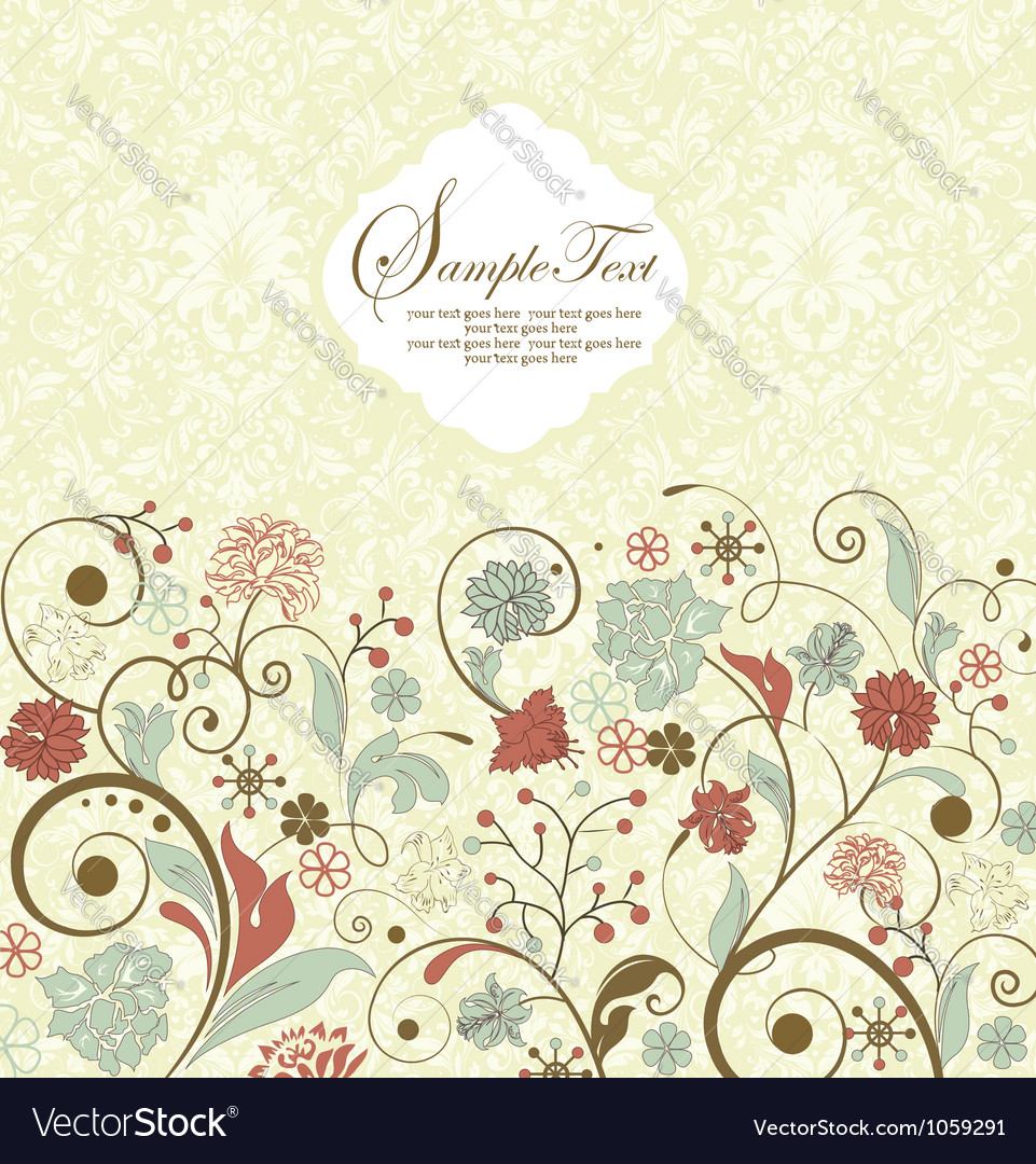 Floral invitation vector | Price: 1 Credit (USD $1)