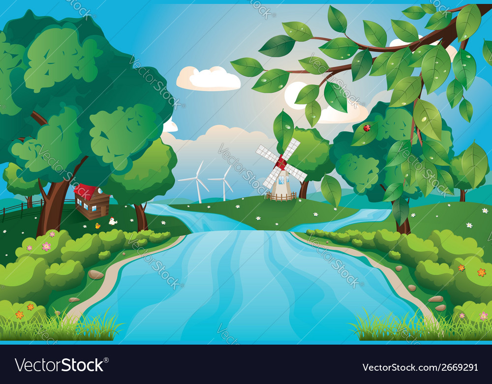 Hills and river4 vector | Price: 3 Credit (USD $3)
