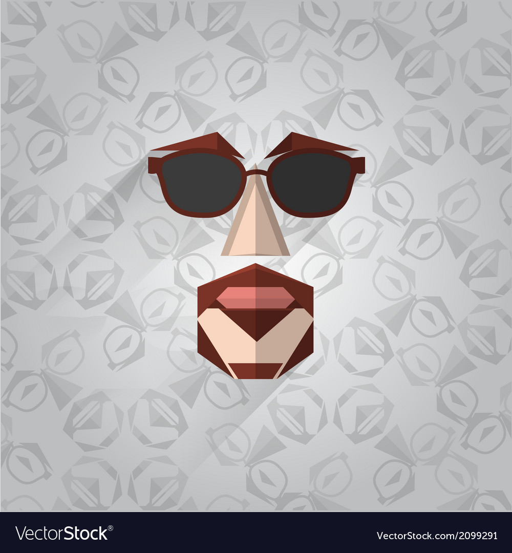 Hipster face vector | Price: 1 Credit (USD $1)