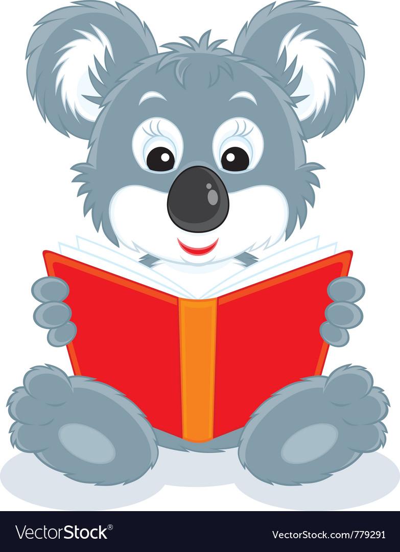 Koala cub reading a book vector | Price: 3 Credit (USD $3)
