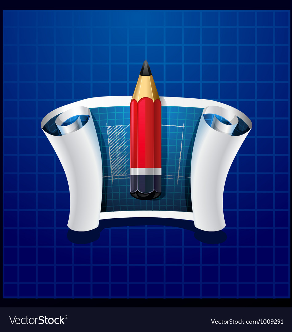 Roll of blue paper with pencil and drawing vector | Price: 3 Credit (USD $3)