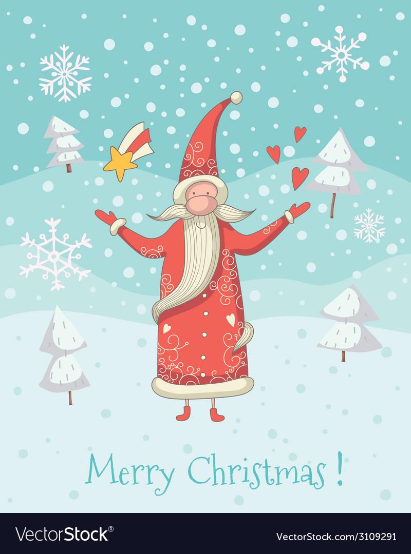 Santa claus greeting card vector   Price: 1 Credit (USD $1)