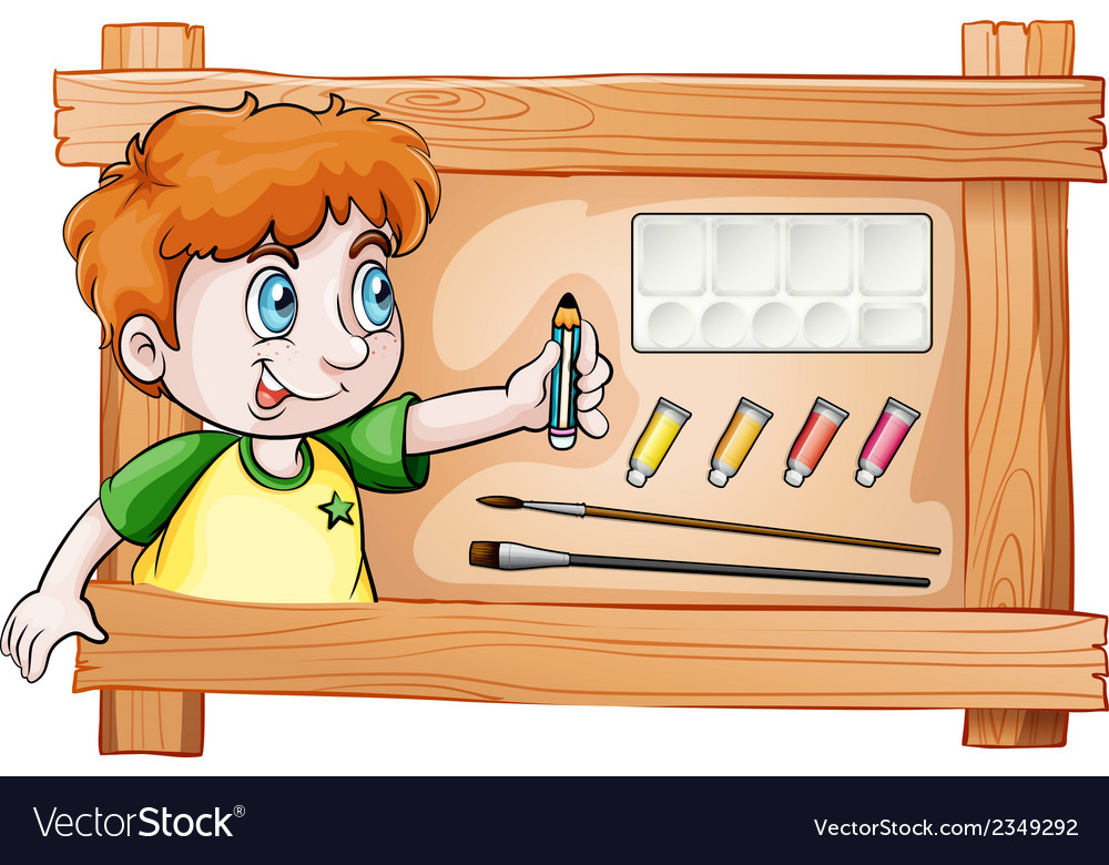 A frame with a young painter vector | Price: 3 Credit (USD $3)