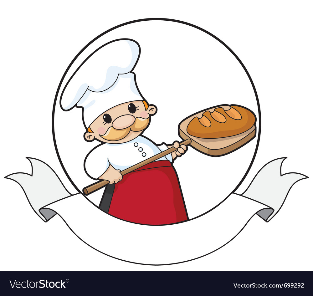 Baker with bread banner vector | Price: 1 Credit (USD $1)