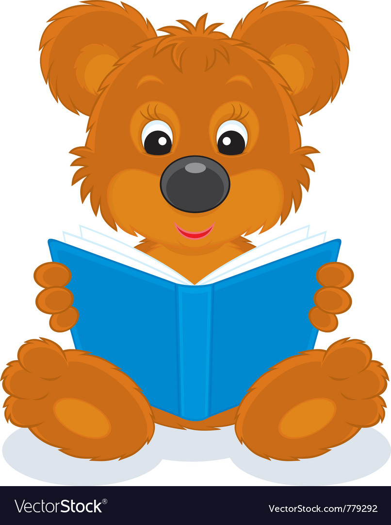 Bear cub reading a book vector | Price: 3 Credit (USD $3)