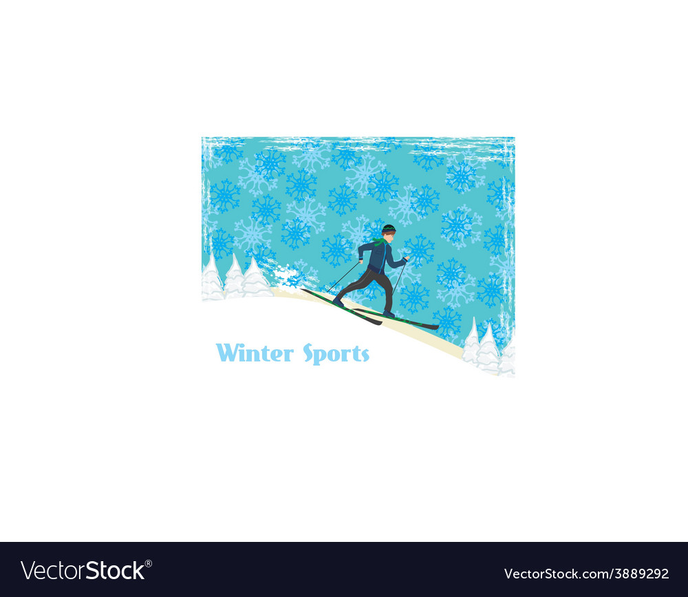 Boy rides on skis in winter day vector | Price: 1 Credit (USD $1)