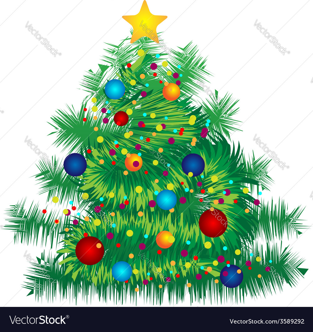 Christmas decorated tree on white background vector | Price: 1 Credit (USD $1)