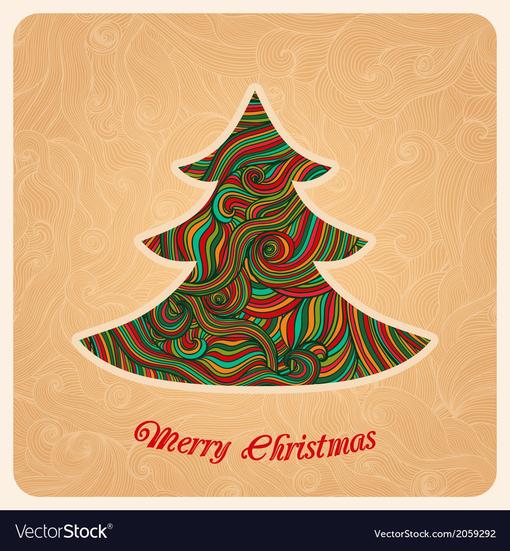 Christmas tree greeting card in christmas theme vector | Price: 1 Credit (USD $1)