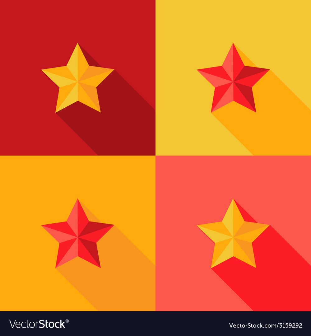 Christmas yellow and red star flat set icon vector | Price: 1 Credit (USD $1)