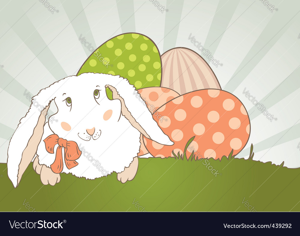 Easter bunny with egg retro vector | Price: 1 Credit (USD $1)