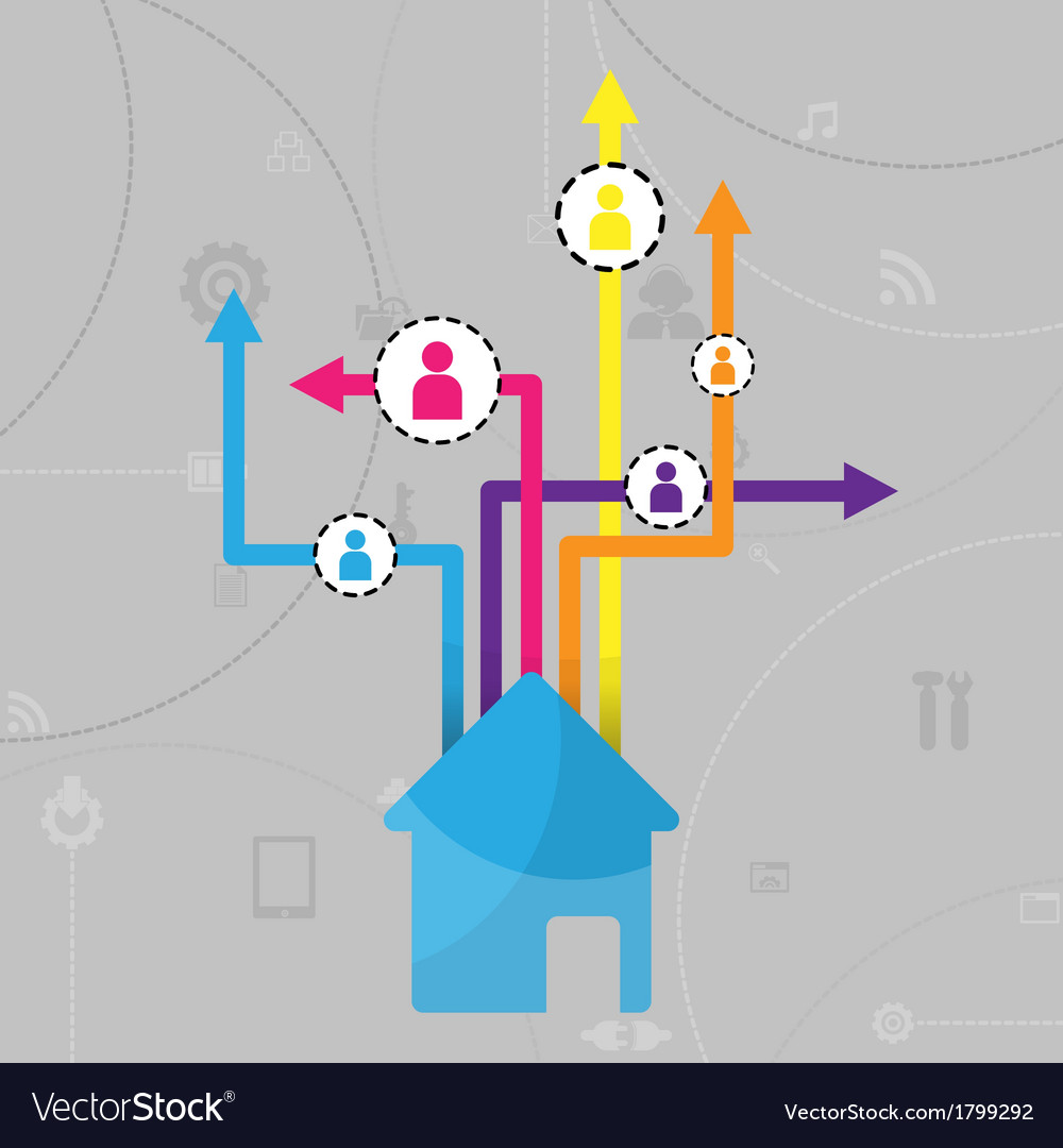 Home social network background with media icons vector | Price: 1 Credit (USD $1)