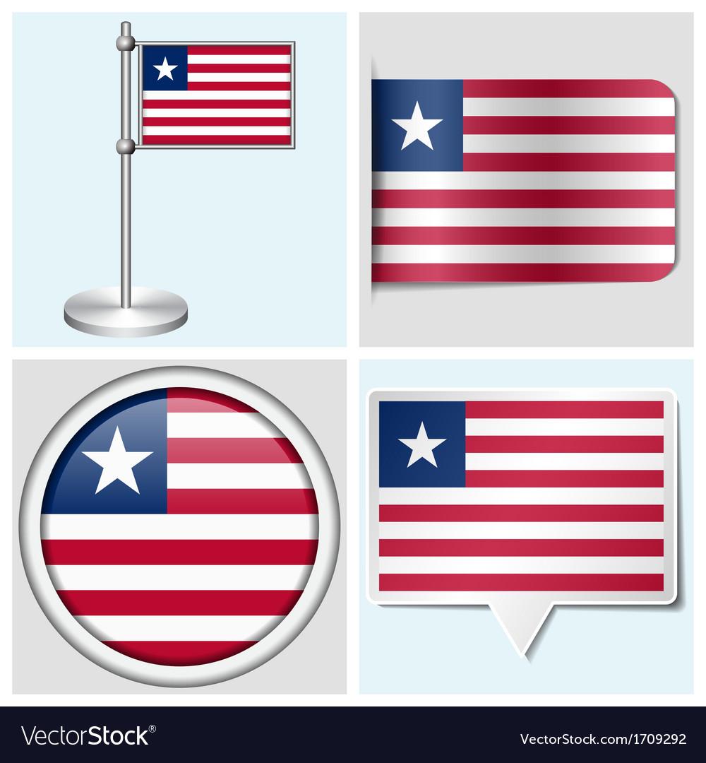 Liberia flag - sticker button label flagstaff vector   Price: 1 Credit (USD $1)
