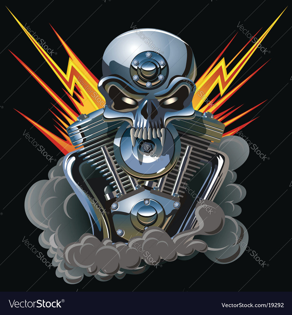Metal skull with engine vector | Price: 5 Credit (USD $5)