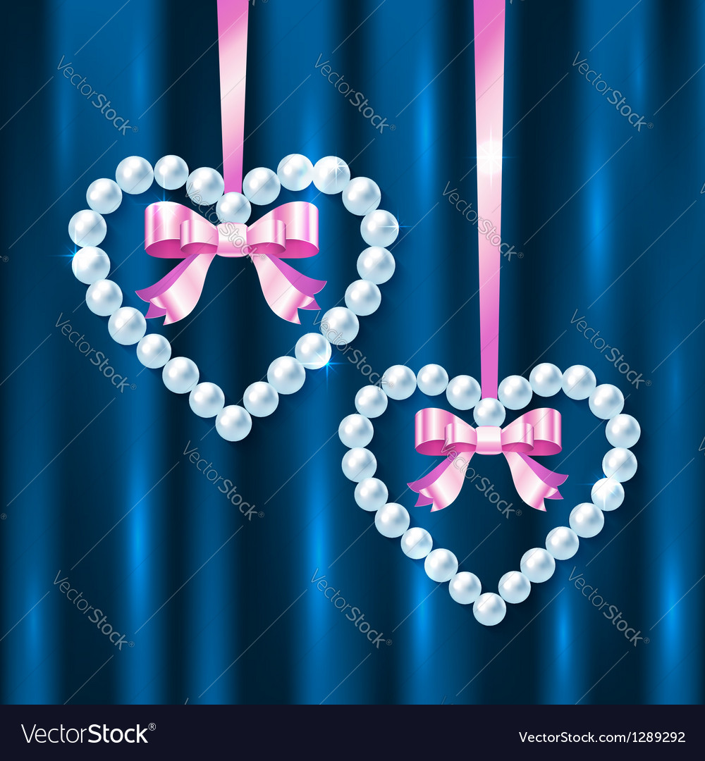 Pearl hearts with pink ribbons and bows vector | Price: 1 Credit (USD $1)